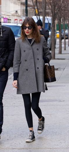 Alexa chung grey coat back converse red lipstick