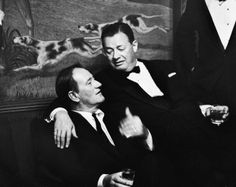 Life Staff Photographer Bill Ray: Legendary saloonkeeper Toots Shor (right) with John Wayne on closing night at Shor's famous New York watering hole, 1959.