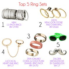 Keeping it under RM25!  Pimp up your fingers with these sassy rings!  #fureeekshow #fashion #accessories #brands #top5anything  *All images were taken from respective brands*
