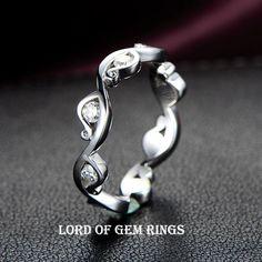 $658 Diamond Wedding Band Eternity Anniversary Ring 14K White Gold Channel Set