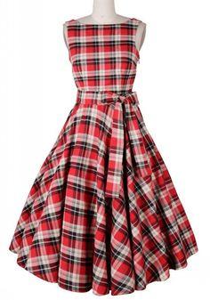 Red Plaid Pleated Bow Sleeveless Scoop Neck Audrey Hepburn Vintage Dress