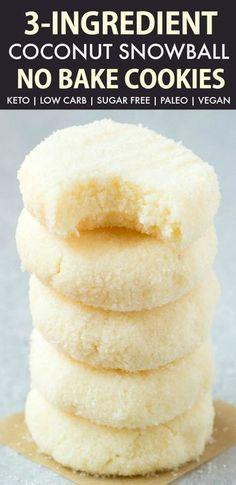 3 Ingredient No Bake Coconut Snowball Cookies (Keto, Paleo, Vegan, Sugar Free) raw coconut snowball cookies, easy raw dessert
