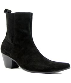 90526b4794d7bc Casbah Retro Mod Zip Fasten Cuban heel Chelsea Boots in Black Suede from  Madcap England