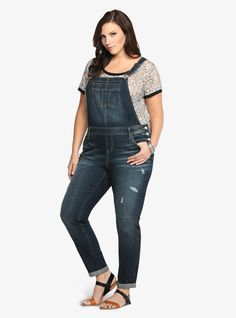 Torrid Overall Jean – Medium Wash with Destruction From the Plus Size Fashion Community at www.VintageandCurvy.com