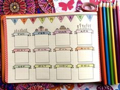 Colourful journal spread for birthdays #bulletjournal #bujo #birthdays #birthdaytracker
