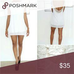 White Mini Dress 💕SALE💕 White mini dress with cream detailing on the back Finejo Dresses Mini