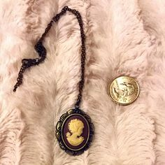 Dark Brass Brown Victorian Cameo Retro vintage inspired costume jewelry with beautiful cameo. Quarter in pic to show sizing. Save the most money by saving 20% off on all items bundled over just 2 items.  Victorian, gothic, statement, boho, bohemian Vintage Jewelry Necklaces