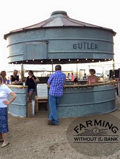 Water tank turned outdoor bar/shop/concession stand.