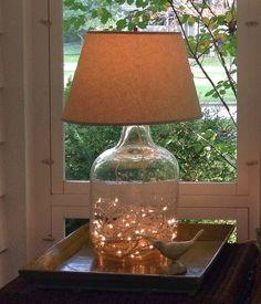 Just*Grand: Grand Demi-John/Carboy Lamp Diy Bottle, Bottle Art, Bottle Crafts, Demijohn Ideas, Fillable Lamp, Savvy Southern Style, Glass Jug, Creation Deco, Mason Jar Lamp
