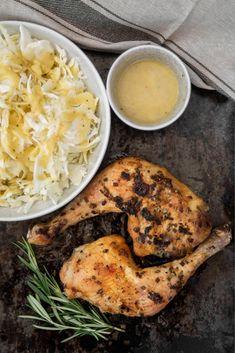 Rosmarin-Butterhühnchen mit Frühkrautsalat
