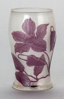 Fire polished overlay glass vase by Galle, Nancy, France c. 1904