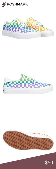 "⚡️ Men's Straye Fairfax rainbow shoes 12  Zumiez Brand new in box! Straye Fairfax rainbow checkered shoes, men's size 12! These are limited edition and sold out everywhere! Secret flap in the back reveals ""love wins"". Wear them with PRIDE! Bundle and SAVE! Zumiez Shoes Sneakers"