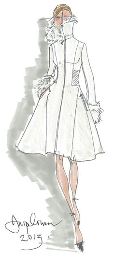 Saved for the style for drawing legs; specifically the ankles - LG Jasper Conran designer coat sketch
