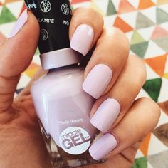 """Digging this new lavender Miracle Gel nail polish from @sally_hansen. One coat, fully opaque, easy to apply. This shade is called ""All Chalked Up"" and…"""