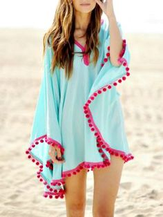 Care Free Day Pom Pom Cover Up www.thechicfind.com