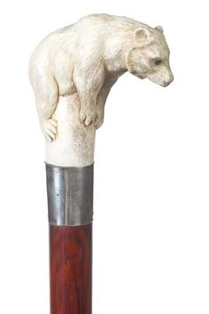 36. Stag Bear Cane-20th Century-A Carved Bear On A Stum : Lot 36