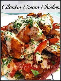Cilantro Cream Chicken -- chicken tenderloins, Italian dressing, lime juice, cilantro, sour cream, onion, red bell pepper. Marinates in the refrigerator for 1 hour up to overnight then cook in a skillet.