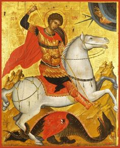 Detailed view: Saint George and the Dragon- exhibited at the Temple Gallery, specialists in Russian icons Byzantine Icons, Byzantine Art, Religious Icons, Religious Art, Saint George And The Dragon, Saint Georges, Kunst Online, Russian Icons, Archangel Michael
