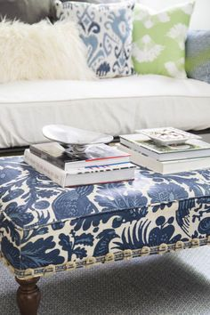 Vintage ottoman with blue floral fabric on Thou Swell @thouswellblog