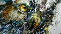 """Night Owl"" made of Paint Splatters  http://designersdepot.noelevz.com/night-owl-made-of-paint-splatters/"