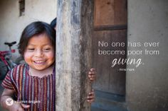 """""""No one has ever become poor from giving."""" #annefrank  Spread by www.compassionateessentials.com and http://stores.ebay.com/fairtrademarketplace/ stores supporting #fairtrade."""