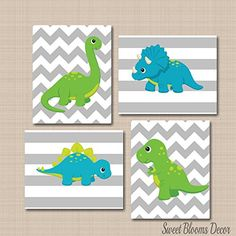 Dinosaur Décor,Dinosaur Nursery Wall Art,Dinosaur Wall Art,Blue Green Nursery Dinosaur Kids Wall Art,Dinosaur Nursery Decorations,Dinosaur Bathroom-UNFRAMED Set of 4 PRINTS (NOT CANVAS) C130