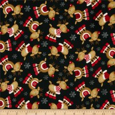 UK Seller - no customs charges to pay!  Contents 100% Cotton Width 44 Description: Designed for Timeless Treasures, this single napped (brushed on one side) flannel is perfect for quilting, apparel, craft and home decor accents. Colours include brown, red and white on a black background.  Washing Instructions: Machine Wash Cold/Tumble Dry Low  Sold in half meter lengths. Please select mulitiple quantites if you wish to have more than a 1/2 meter Fabric will be sent in one continuous uncut…
