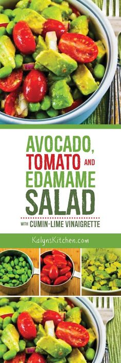 Salads like this Easy Avocado, Tomato, Edamame, and Red Onion Sala with Cumin-Lime Vinaigrette are perfect for spring, when the summer salad veggies aren't that good yet. If you want less carbs in this salad, use less edamame and more avocado. Who would mind that? [found on KalynsKitchen.com]
