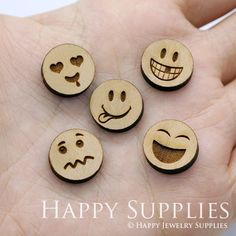 DIY Laser Cut Wooden Emoji Charms For Jewelry Making Supplies