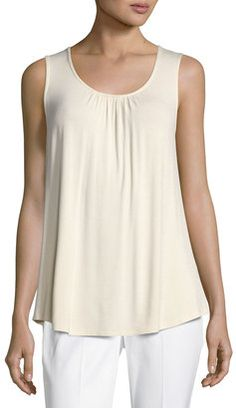 Shop Now - >  https://api.shopstyle.com/action/apiVisitRetailer?id=633911738&pid=uid6996-25233114-59 Neiman Marcus Lace-Back Jersey Tank Top, Ivory  ...