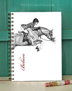 Hunter Jumper Bullet Journal - Custom equestrian Horse Bullet Journal personalized with your own name or other text.