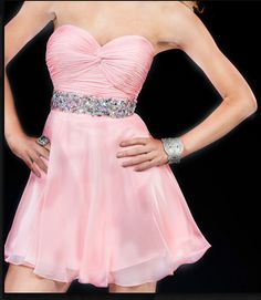 2016 Custom Charming Pink Chiffon Homecoming Dress,Beaded Belt Evening Dress,Sexy Sweetheart Homecoming Dress