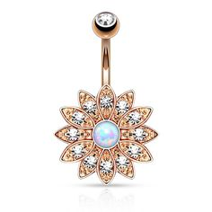 """FREE SHIPPING This flower has a lot of detail. It is packed full of rhinestones! The center is a beautiful opal! Specifications: * 14ga * 316L Surgical Stainless Steel * 3/8"""" barbell * Available in ro"""