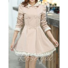 Lace Splicing Refreshing Style Long Sleeves Double-Layered Collar Polyester Women's Trench Coat | Rosegal.com