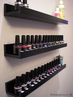 Nail polish storage shelves from Home Depot. or floating picture shelves… Nail polish storage shelves from Home Depot. or floating picture shelves available in white or espresso. Contemporary storage solution for nail polish Vanity Shelves, Storage Shelves, Storage Ideas, Organization Ideas, Ikea Storage, Room Shelves, Bathroom Organization, Makeup Shelves, Dvd Shelves