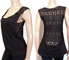 Free People Layered Lace Tank Top Womens Small Black Sheer Mesh Scoop Bubble Hem #FreePeople #Basic #PartyCocktail Lace Tank, Underarm, Bubbles, Free People, Layers, Mesh, Blouses, Tank Tops, Shirts