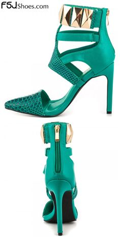 Women's Style Pumps and D'orsay Heels Fall Fashion Outfits 2017 Winter Outfits fashion Prom Shoes Womens Fashion Green Pointy Toe Stiletto Heels Metal Ankle Strap Sandals Christmas Party Outfit Christmas Gifts For Friend Cute Winter Outfits 2017 Winter   FSJ