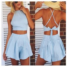 """Sky Blue Halter Mini Sexy Two-Piece SetHOT SALE  AT ZNU.COM. thanks for choosing ZNU. GET 20% OFF with code """"znutx"""""""