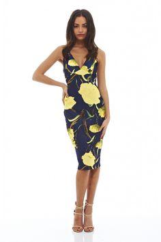 Blue Deep V-Neck Floral Print Crisscross Midi Dress 1f50fb274