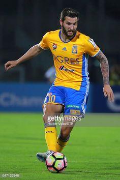 Fotografía de noticias : Andre Gignac of Tigres drives the ball during the...