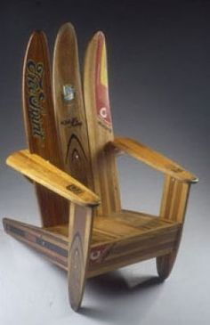 Repurposes Water Skis Chair ~ Wonderful decor for a beach house, man cave, kid's room, cabin at the lake