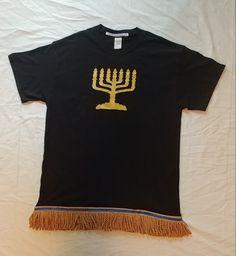Hebrew Israelite T-Shirt w/ Holy Menorah & Premium Gold Fringes (Black) Hebrew Israelite Clothing, Israel Fashion, Black Hebrew Israelites, African Dashiki, Shirt Outfit, T Shirt, Modest Outfits, Modest Clothing, Online Clothing Stores