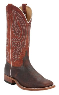 Anderson Bean Men's Brown Bison with Rust Top Double Welt Square Toe Western Boots