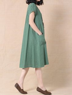 Womens Cotton Linen Tunic Dress Pleated Sleeveless Sundresses Summer Daily Pullover with Pockets Dresses for Women