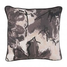 Grey Floral Stitch Pattern Pillow with Jet Flange Print fabric on reverse feather, down insert Made in the USA