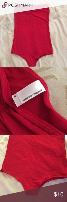 American Apparel Strapless Bodysuit Red American Apparel strapless bodysuit. Medium. Gently worn. No stains or holes. Excellent used condition. American Apparel Tops Tank Tops