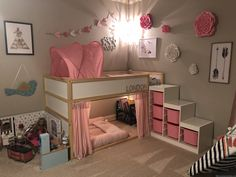 ikea kura bed for London is finally finished! is part of Kura bed - Bedroom Ideas For Teen Girls, Ikea Kids Bedroom, Baby Bedroom, Childs Bedroom, Cool Rooms For Girls, Shared Kids Rooms, Bunk Bed Ideas For Small Rooms, Ikea Girls Room, Girls Room Storage