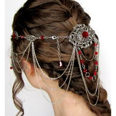 Fantasy Headpiece in Red and Silver (720 RON) ❤ liked on Polyvore featuring accessories, hair accessories, hair, jewelry, hair styles, victorian hair accessories, silver hair accessories e red hair accessories
