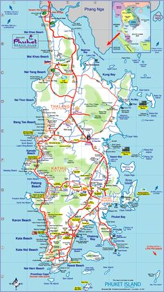 Phuket, Thailand, the largest island. Phuket has great beaches, warm water, visit Patong Beach has great night life and many Thai girls - Phuket map Phuket Thailand, Map Of Phuket, Thailand Beach, Phuket City, Phuket Travel, Thailand Vacation, Thailand Travel, Asia Travel, Map Of Thailand