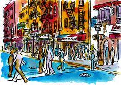 """Little Italy - NYC"" (32,5x46 cm.) · by Francesc Palomas"